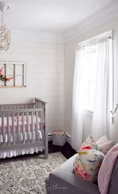 farmhouse girl nursery | DIY shiplap wall | how to plank a wall | Painted Alabaster (eggshell finish) by Sherwin-Williams