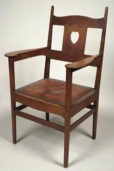 Oak, leather-covered seat, designed by Charles Francis Annesley Voysey, c. 1902 | ARTS & CRAFTS