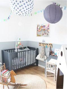 Half painted walls nursery
