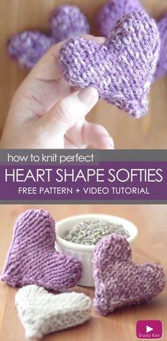 Knit a Heart Shape   Puffy Heart Softies with Free Knitting Pattern + Video Tutorial by Studio Knit via @StudioKnit