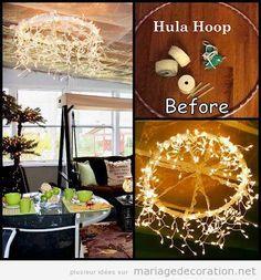 Idées déco mariage pas cher, chandelier hula hoop et lumières