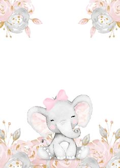 Elephant Baby Showers, Baby Elephant, Elephant Wall Art, Baby Shower Invitation Templates, Baby Shower Labels, Baby Shower Templates, Baby Posters, Pink Invitations, Birthday Invitations