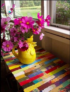 Colorful paint stirring stick table top.
