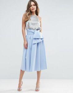 ASOS Scuba Prom Skirt with Tie Waist