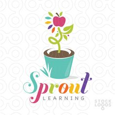 Educational, growing theme logo with a plant with an apple growing from a planter. The design is fresh and colourful with a very kid friendly design.
