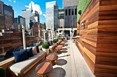 warm woods and funky furniture - Os mais badalados 'rooftops' de Nova York - Haven Rooftop, Sanctuary Hotel New York Rooftop Patio, Rooftop Bar, Rooftop Lounge, Terrace, Rooftop Design, Hotel New York, New York City, Haven Rooftop, Travel Tips