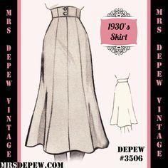 1930's A-line Skirt Sewing Pattern  #3506 (1939) | Mrs Depew Vintage