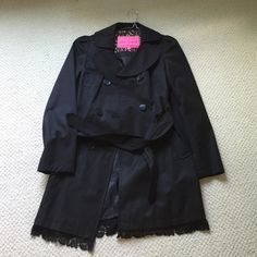 NWOT Betsey Johnson Trench Coat NWOT black trench coat, this is very cute especially with the lace at the bottom of the coat! Feel free to make an offer or ask questions! Betsey Johnson Jackets & Coats Trench Coats