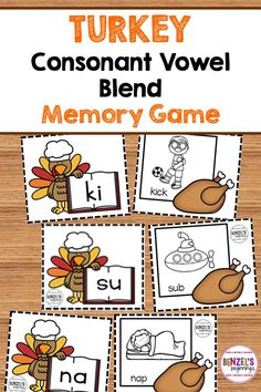 Thanksgiving blend memory game! 150 cards in color or in black and white - enough for 5 small group games all at once!