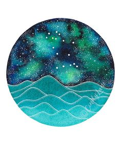 The Gemini Constellation above an ocean of waves watercolor