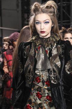 Gigi Hadid backstage at the Anna Sui Fashion Show during New York Fashion Week