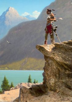 Forgotten: A Northern Plains man on an overlook in Montana in the early 1900s. Artists had to carefully paint over the photograph