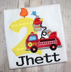 Firetruck birthday shirt fire truck 1 2 3 4 5 6 7 8 9 flame water hose name monogram monogrammed embroidered embroidery appliqué custom To purchase, contact me on Facebook or through email at ordersssb@gmail.comFacebook.com/sweetsouthernboutique