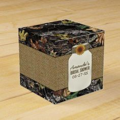 Sunflower Burlap Hunting Camo Wedding Favor Boxes- all over camouflage print with a sunflower and twine decorated mason jar. Customize the demo bride's name to your own. Sunflower Wedding Favors, Candy Wedding Favors, Wedding Favor Boxes, Bridal Shower Favors, Camo Wedding Decorations, Candy Gift Box, Candy Gifts, Camo Wedding Invitations, Camouflage Wedding