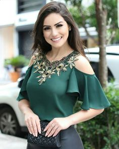 V-neck Embroidered Blouse Blusas Ruffle Sleeve Blouse Shirt - ifashionova Formal Blouses, Blouses 2017, Short Tops, Mode Outfits, Blouse Designs, Blouses For Women, Designer Dresses, Fashion Dresses, Pullover