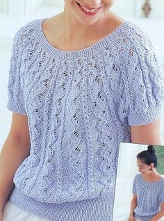 Кофта с короткими рукавами Shirt with short sleeves knitted from the neck of the spokes. The scheme of knitting sweaters spokes Crochet Jumper, Sweater Knitting Patterns, Lace Knitting, Knit Patterns, Knit Crochet, Knitting Sweaters, Knitting Ideas, Summer Knitting, Lace Sweater