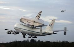 Space shuttle Endeavour, bolted atop a modified jumbo jet makes its departure from the Kennedy Space Center,  Wednesday, Sept. 19, 2012, in Cape Canaveral, Fla. Endeavour will make a stop in Houston before heading to the California Science Center in Los Angeles. (AP Photo/Terry Renna) Photo: Terry Renna, Associated Press / SF