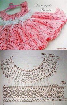 Crochet Baby Dress Patterns For Free. How To Crochet Baby Dress Free Patterns Poncho Crochet, Crochet Bebe, Baby Girl Crochet, Crochet Baby Clothes, Crochet For Kids, Crochet Tops, Crochet Round, Easy Crochet, Crochet Children