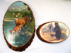 2 Vintage Wild Animal PlaquesSouvenirBearDeerMan by tessiemay, $22.00