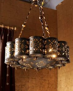 Shop Pierced Metal Chandelier from Janice Minor at Horchow, where you'll find new lower shipping on hundreds of home furnishings and gifts. Tin Can Lights, Tin Can Lanterns, Tin Can Art, Tin Art, Aluminum Can Crafts, Metal Crafts, Soda Can Crafts, Recycled Tin Cans, Repurposed