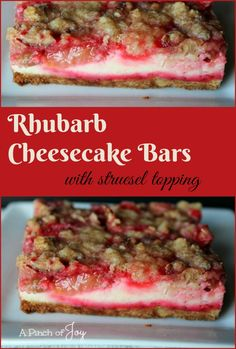 Cheesecake Bars with struesel topping -- A Pinch of Joy .Rhubarb Cheesecake Bars with struesel topping -- A Pinch of Joy .Rhubarb Cheesecake Bars with struesel topping -- A Pinch of Joy Easy, Delicious Rhubarb Cheesecake Bars in a Pan Strawberry Rhubarb Recipes, Rhubarb Desserts, Just Desserts, Rhubarb Recipes Cream Cheese, Healthy Rhubarb Recipes, Frozen Rhubarb Recipes, Strawberry Rhubarb Crisp, Strawberry Cheesecake, Rhubarb Bars