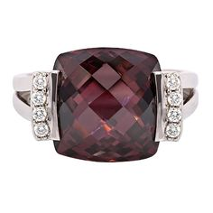 Beautiful Multi-Faceted Maroon Square Shaped Dress Ring with White Cubic Zirconias in Sterling Silver Sterling Silver Earrings, Silver Rings, Dress Rings, Maroon Color, Sweet Dress, Gorgeous Dress, Stone Rings, Beautiful Rings, Glitters