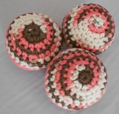 Indoor Juggling Ball Set Cotton Crocheted Juggling Balls Soft Juggling Balls Soft Pet Ball Toy Brown Pink and White Variegated by CrochetByIlene on Etsy