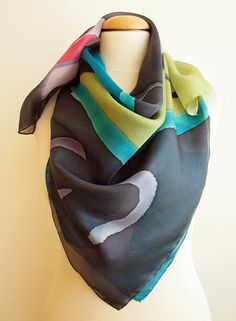 Pañuelo de seda pintado a mano-Pañuelo de seda cuadrado-Pañuelo de seda diferente-Regalos para ellas 90 x 90 cm