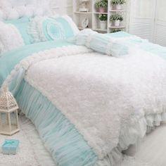 rose ruffle duvet cover set blue shabby chic bedding cottage bedding louis blue shabby chic bedding