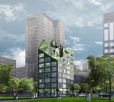 HWKN, Blesso Properties and Bronx Pro's Gorgeous Green Roofed Max Tower Boasts 56 Micro-Apartments for Small Space Living