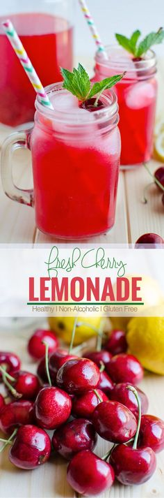 Cherry lemonade is an amazing combination of fresh cherries and lemons. It is healthy and refreshing--a naturally sweetened lemonade for guilt free drinks. Healthy Smoothies, Healthy Drinks, Smoothie Recipes, Healthy Recipes, Thm Recipes, Drink Recipes, Recipies, Cocktails, Non Alcoholic Drinks