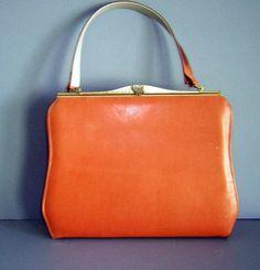 vintage orange purses | Vintage 60s Purse Handbag ORANGE Leather