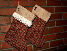 DIY burlap Christmas stocking (maybe reverse?)