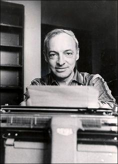 Saul Bellow at his typewriter, looking downright serene.