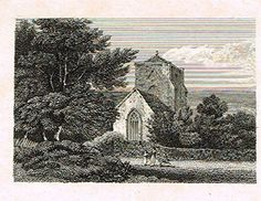 """Miniature Topographical Views - """"BEAUCHIEF ABBEY, DERBYSHIRE"""" - Copper Engraving - 1808"""