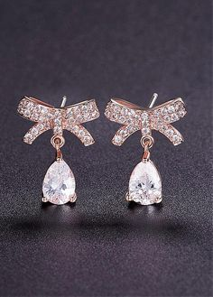 581f13de1 18K Gold Plated Stud Earrings, Micro Pave Zirconia Bowknot with Zircon  Drop, Rose Gold