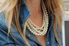 <3 Pearls and denim shirt.