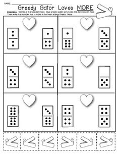 (sample page) Valentine Domino Math Worksheets! Composing and Decomposing . $