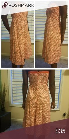 J. Crew Orange Mushroom Printed Strapless Dress A-line shape  Built in boning  Pre-owned in excellent condition J. Crew Dresses Midi