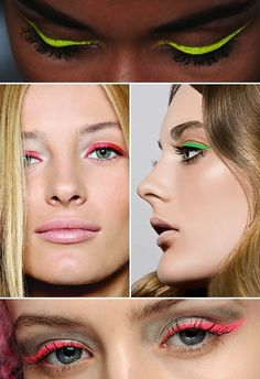Give your eyes a kick with neon liquid eye-liner in big flicks.