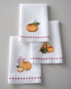 Three Pumpkin Harvest Guest Towels at Horchow. $40.00  If you have an embroidery machine or are good at hand embroidery this would be a lot cheaper. Very Cute!