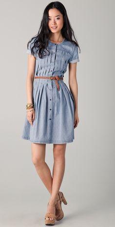 To Guardando o Modelo >> Modelos de Vestido: Vestido de Popeline com pregas