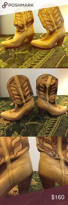 Frye Vintage gold & beige cowboy boots, size 8 Used, in great condition. Some scuffs on toe. Broken in and comfy, as any great cowboy boot should be. Frye Shoes