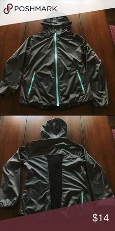 EUC Asics weatherproof athletic jacket Like new. Excellent condition. Dark gray hooded jacket with turquoise trim. No lining. Lightweight but waterproof. Zippered pockets in the front and extra zipper in back for phone or headphones. Size medium. Asics Jackets & Coats