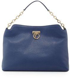 87353cf80a Versace Pebbled Leather Hobo Bag, Bright Blue $875 $656 Versace Duffle Bag, Versace  Bag