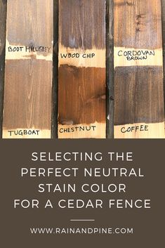 Selecting the Perfect Neutral Stain Color for a Cedar Fence - Selecting the Perfect Neutral Stain Color for a Cedar Fence – A comparison of 6 popular Behr semi - Exterior Wood Stain Colors, Deck Stain Colors, Deck Colors, Behr Deck Over Colors, Paint Colors, Cedar Fence Stain, Wood Deck Stain, Staining Wood Fence, Outdoor Wood Stain