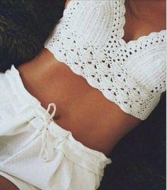Beautiful crochet crop-top  #summer #women #girls #love #white #croptop #crochet #style #trend2016