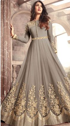 Gray Designer Embroidered Net Party Wear Anarkali Suit - Gray Designer Embroidered Net Party Wear Anarkali Suit Source by - Gown Party Wear, Party Wear Indian Dresses, Designer Party Wear Dresses, Indian Gowns Dresses, Indian Fashion Dresses, Pakistani Bridal Dresses, Dress Indian Style, Pakistani Dress Design, Indian Designer Outfits
