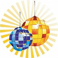 Illustration of two party globes in radiant yellow beam.