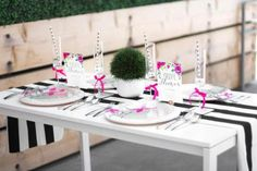 Floral Garden Bridal Shower black and white stripes tablecover guest table